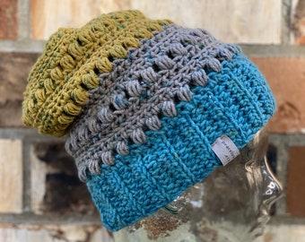 Crochet Beanie Hat Indigo Blue Merino Ready To Ship Free Shipping
