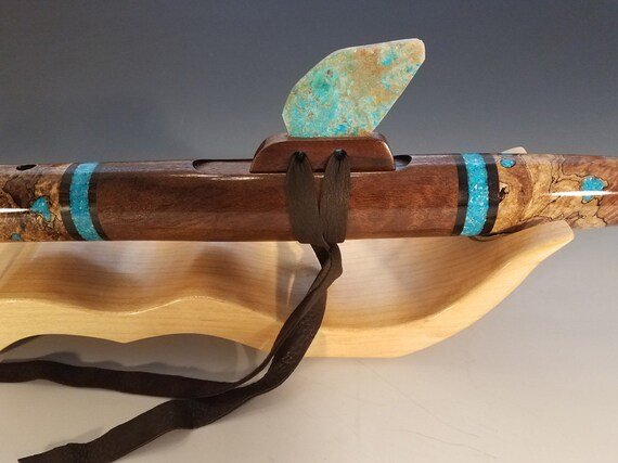 Native American Style Flute, Spalted Burl Maple & Walnut, mid G