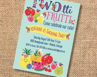 Twotti Frutti Fruit Birthday Invitation Girl Party 2nd Invite Tutti Two Year Old Second Printable Floral