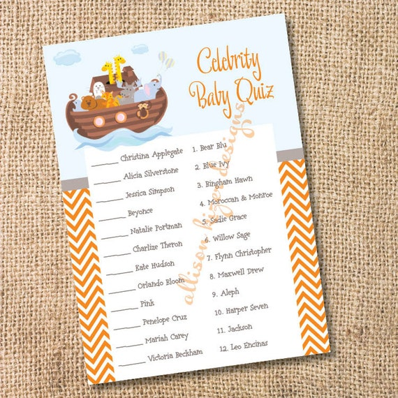 Noah S Ark Printable Celebrity Baby Match Game Instant Etsy