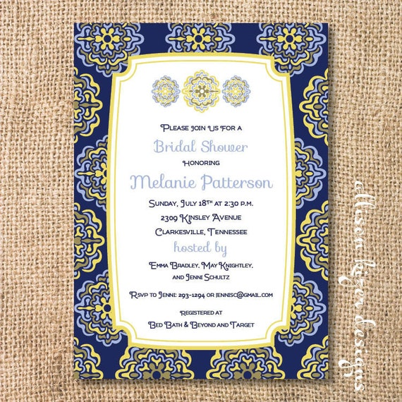 5888f87807c9 Moroccan Bridal Shower Tapas Party Navy and Yellow Baby Shower