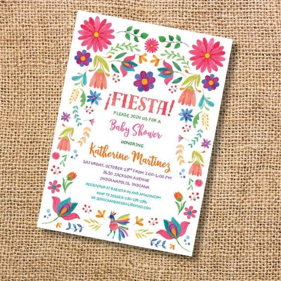 Fiesta Tarjeta Baby Shower Invitación Floral Bordada Mexicana Otomi Niña Quinceañera Matrimonio Colores Vivos Flores Bonitas