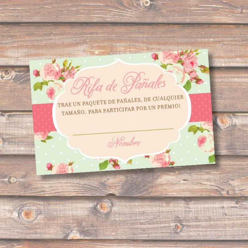 Diaper Raffle Spanish Rosado Flores Rifa De Pañales Tarjetas Etsy