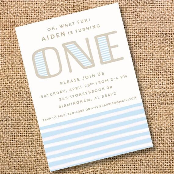 Classic Stripes First Birthday Invitation Boy Blue Striped Invite One 1st Birthday Invite Twin Boys Modern Blue Stripes Printable Invite