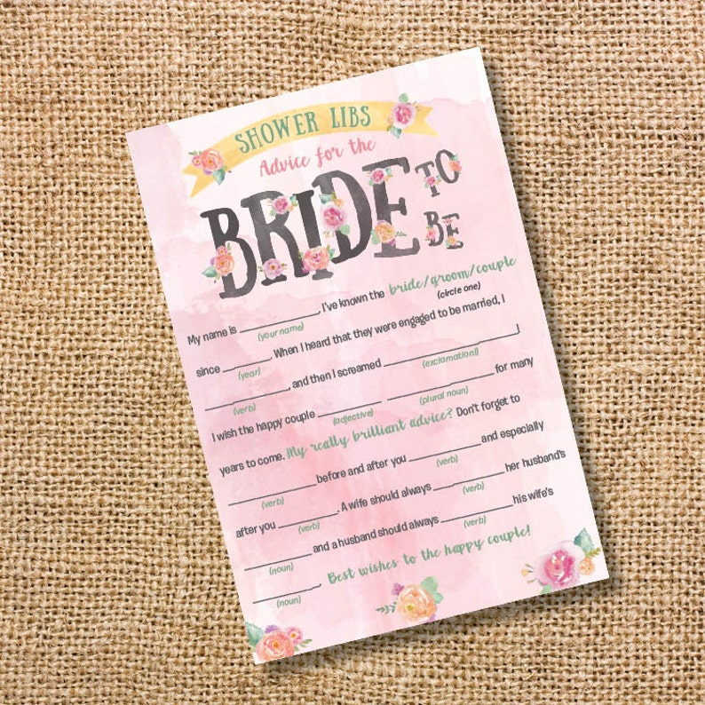 Pink Bridal Shower Mad Libs Printable - Floral Pink Bridal Shower Game  Printable Advice for the Bride-to-Be - INSTANT DOWNLOAD