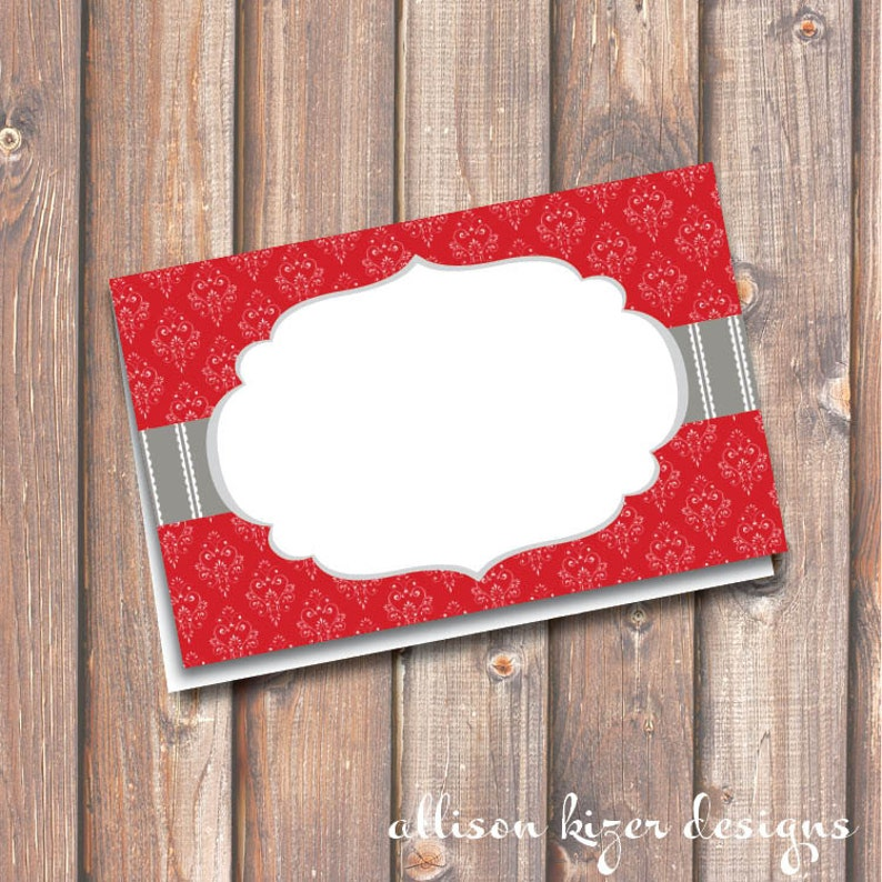 Elegant Scarlet Red Place Cards Wedding Florence Red and Gray Printable Food Tags or Placecards 3.5 x 2.25 Tent-Style INSTANT DOWNLOAD