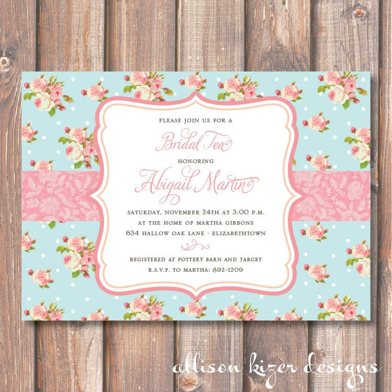 ae426e731938 English Garden Bridal Shower Elegant Blue and Pink Floral