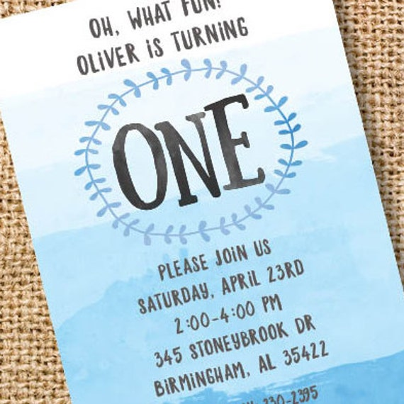 First Birthday Invitation Boy 1st Birthday Invite Blue Ombre One Baby Boy Blue Watercolor Twin Boys First Birthday Nautical Printable Invite
