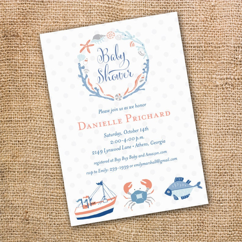 image regarding Nautical Baby Shower Invitations Printable titled Whimsical Boho Nautical Boy or girl Shower Invitation Printable Child Boy Ocean Concept Crab Sailboat Nautical Laurel Marine Printable Invitation