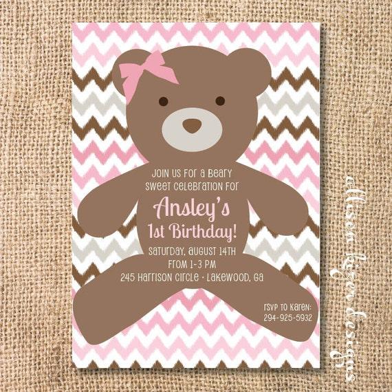 pink teddy bear invitation baby beary sweet printable invite etsy