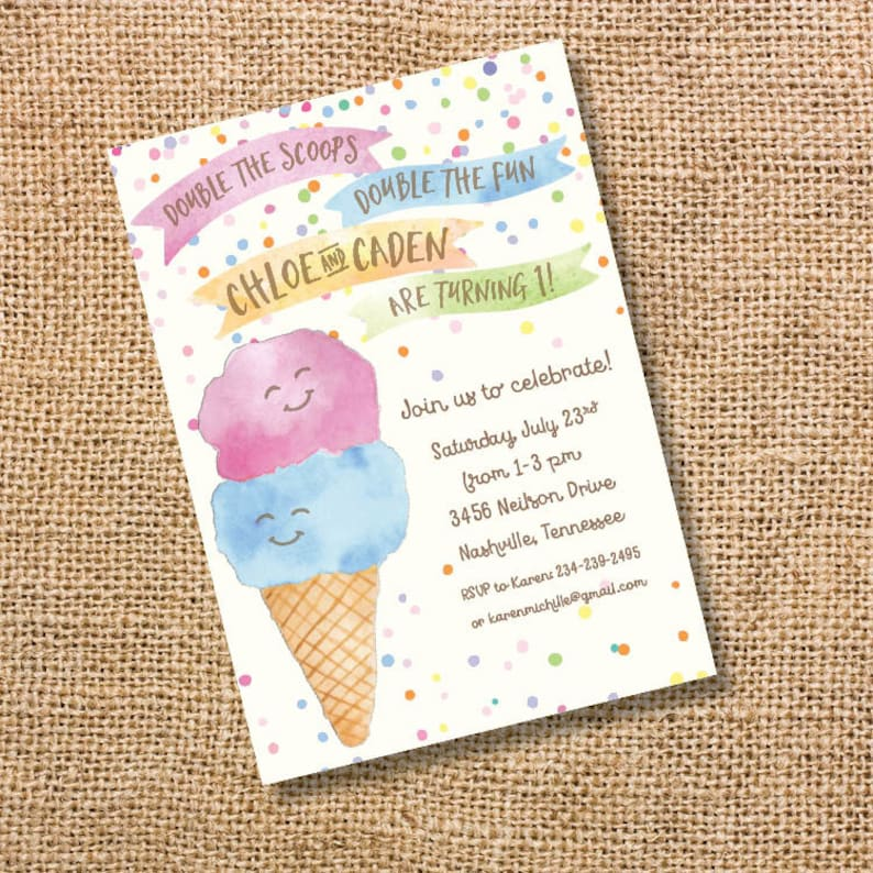 Ice Cream Twins Birthday Invitation Boy Girl Party Double