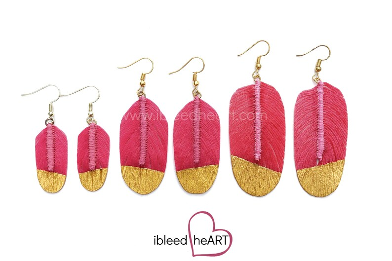 Bright Pink Fake Feather Earrings Feather Jewelry Handmade Earrings Bird Feather Bohemian Wedding