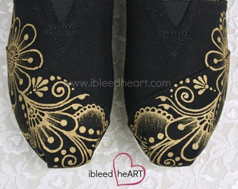 Gold Henna Flower Custom Painted TOMS Shoes - Flower Girl - Whimsical Flowers - Bohemian Shoes - Gold Mehndi - Hand Painted
