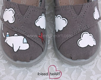 Custom Tiny Toms - Airplane and Clouds - Adventure Travel - Custom Painted Shoes - Boys Shoes - Airplane Art - Cartoon Plane - Hand Painted