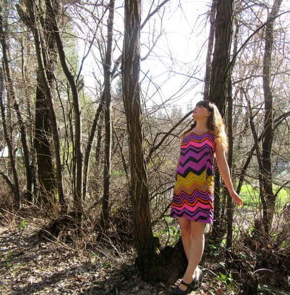1960's silk shift dress Bright purple pink yellow