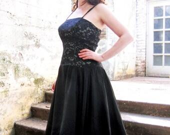 vintage 50s party dress black Lace Evening dress  M/L