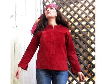 60s red Suede top 1960s suede leather top S/M