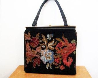 1960s Needlepoint handbag designer 60s black and floral purse Boho L and M