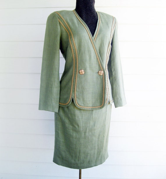 Designer Scaasi Suit lightweight linen moss green