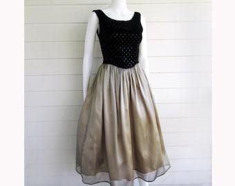 party dress Jessica McClintock black velvet sequin top gold skirt S