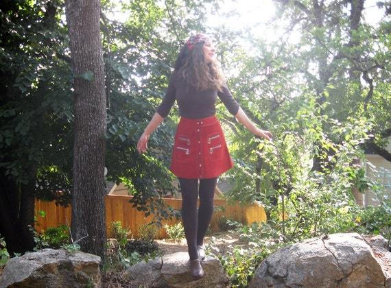 1960s mini skirt Red suede Peace Signs zippers  Ul