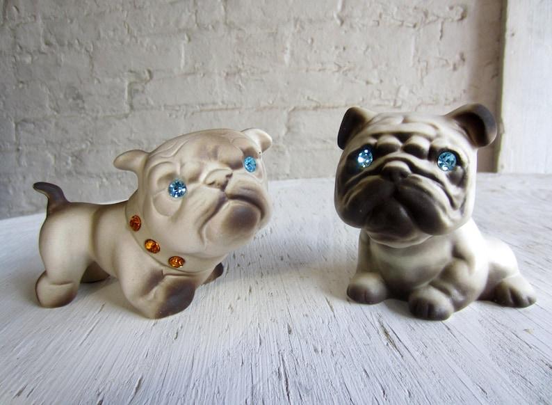 1950s Family of PUGS Roselane Pottery California Entire Family 50s Pug Dog  Figurines rhinestone Sparkle blue eyes