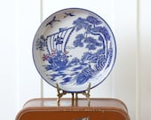 vintage Japanese ceramic platter Arita ware plate shallow bowl with blue white gold design sea turtle boat cranes