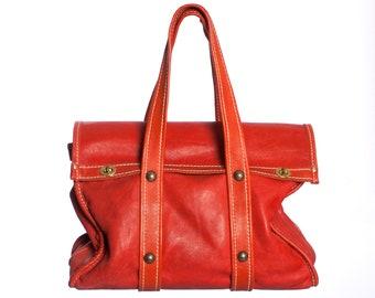 5b6b1dfaa76 Vintage 1960s 70s Leather Satchel • Oversized Top Handle Weekender Bag