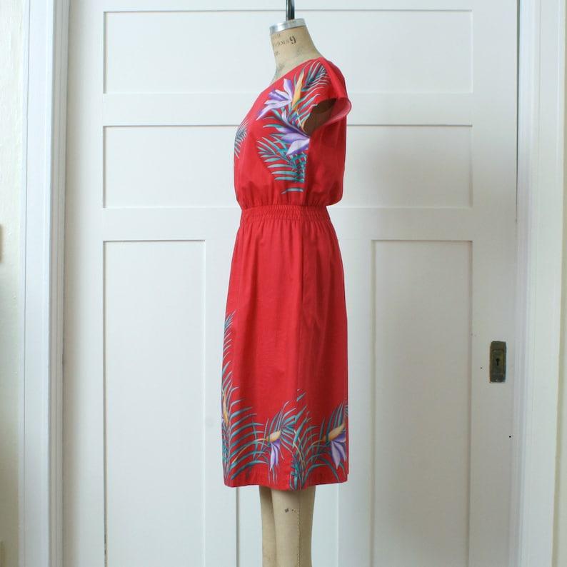 vintage early 1980s tropical print dress \u2022\u00a0colorful red Hawaiian casual lightweight dress