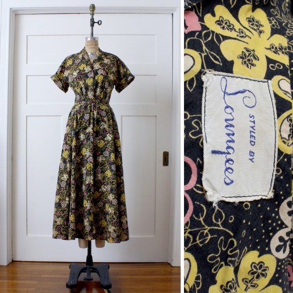 vintage 1940s 1950s robe • cotton full length dres