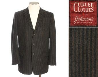 mens vintage striped wool 1960s blazer • black & dark brown 3 button jacket