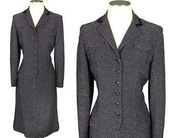 vintage knit suit • 1950s navy blue & gold sparkling lurex metallic knit dress set