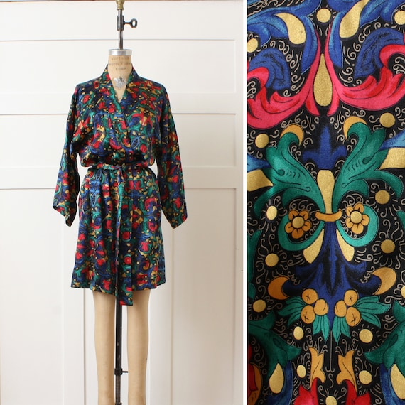 vintage silk robe • rich jewel tone belted pure si