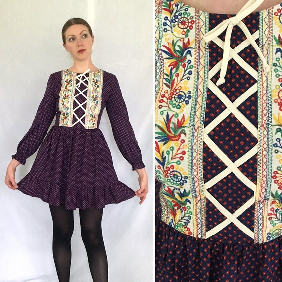1970s embroidered minidress • floral calico & bird