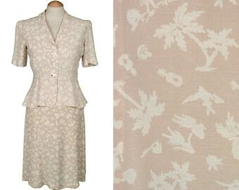 1930s Hawaiian dress set • novelty print rayon with hula girls