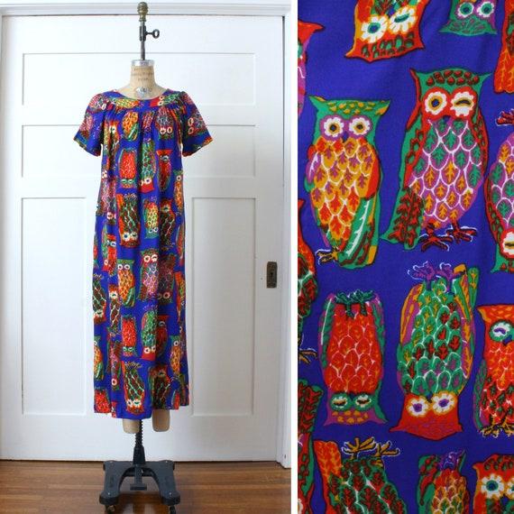 vintage 1970s muu muu dress • bright psychedelic … - image 1
