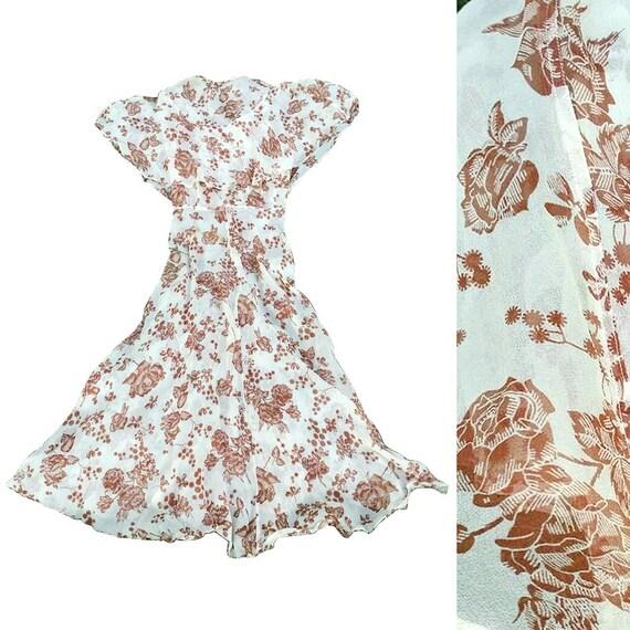 vintage 1930s silk chiffon floral dress • rose pri