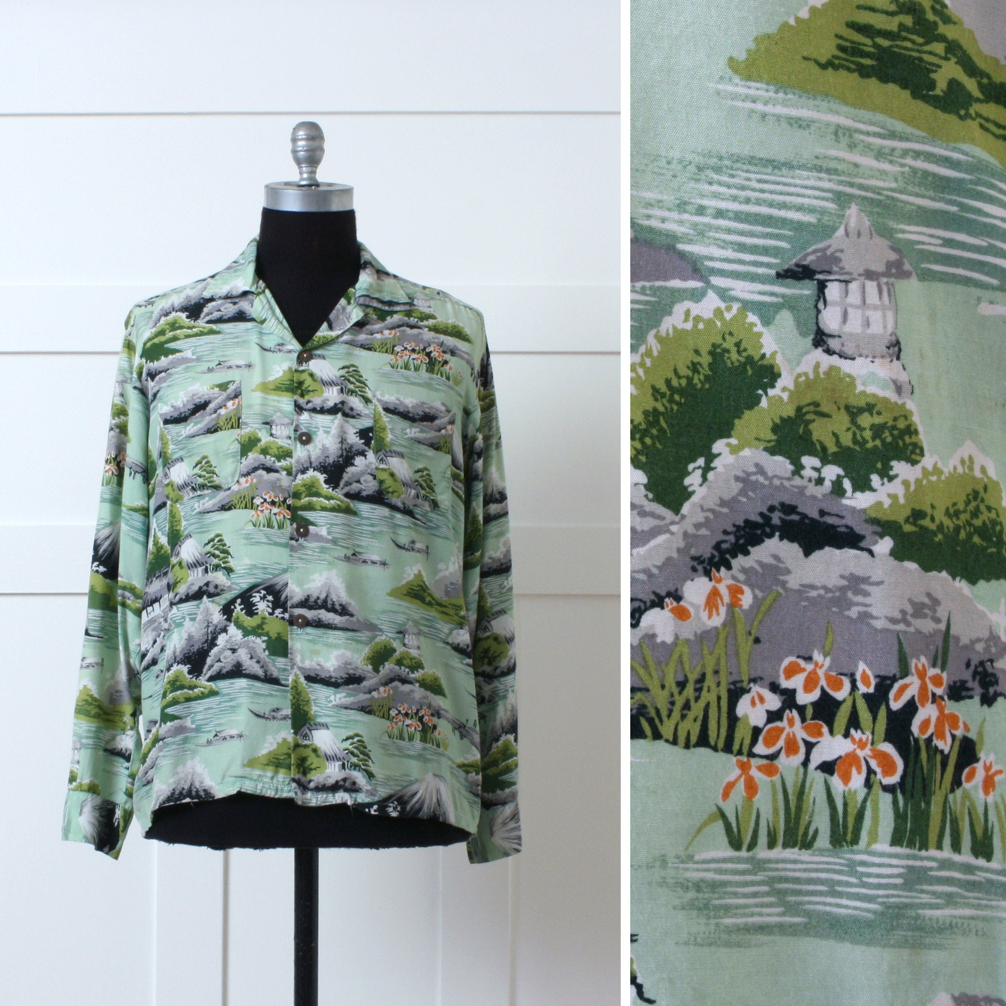 1970s Men's Shirt Styles – Vintage 70s Shirts for Guys Mens Vintage Rayon Hawaiian Shirt Long Sleeve Japanese Garden Print 1970S Reminiscence Stewart Richer $148.00 AT vintagedancer.com