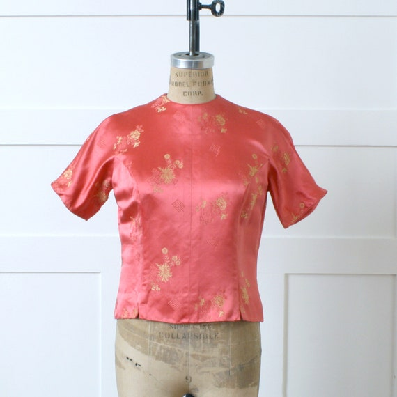 vintage 1960s bright coral brocade blouse • Chines