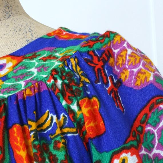 vintage 1970s muu muu dress • bright psychedelic … - image 7