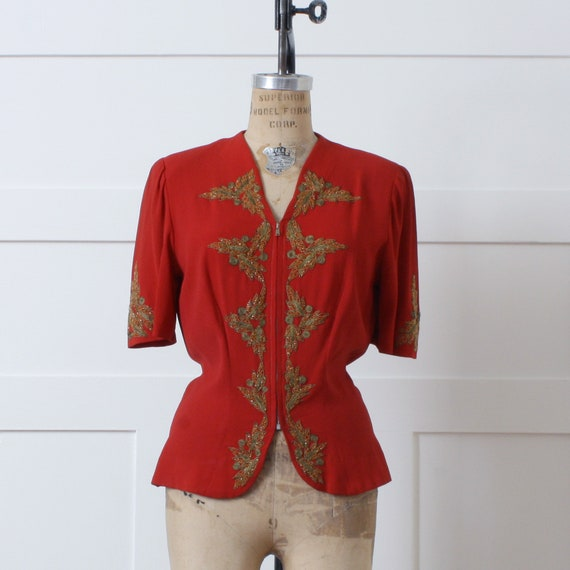 vintage 1940s red rayon blouse • zip front gold so