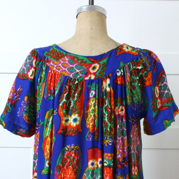vintage 1970s muu muu dress • bright psychedelic … - image 6