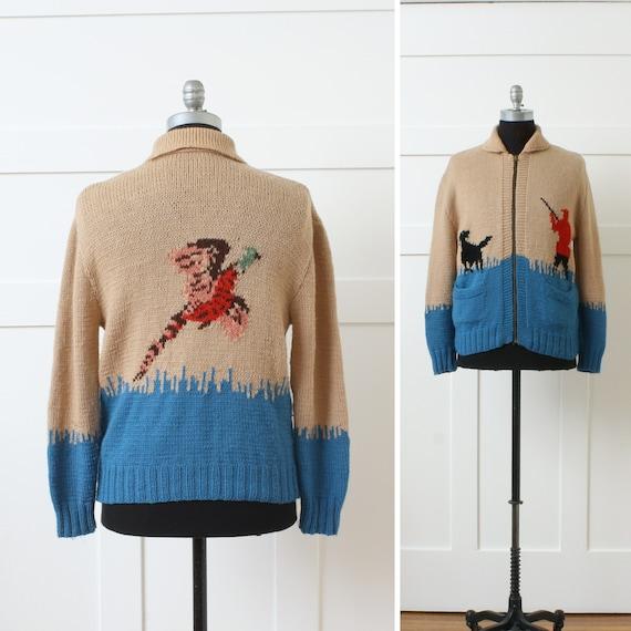 vintage 1950s 1960s wool cardigan • pheasant hunt