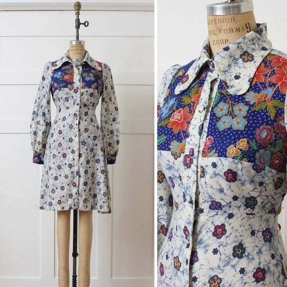 vintage 1970s dress • batik print Young Innocent b
