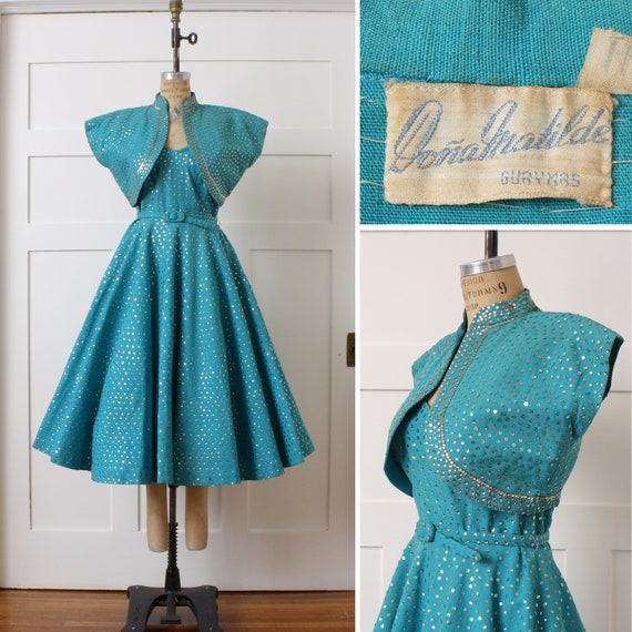 1950s sequined Mexican circle skirt dress & bolero