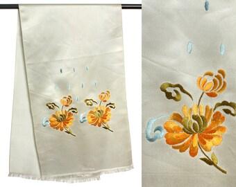 vintage embroidered flowers silk scarf • 1950s Saks Fifth Avenue