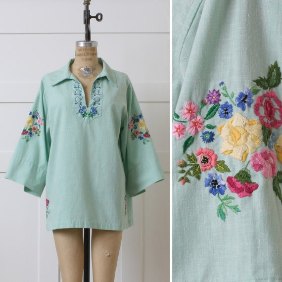 volup vintage 1970s embroidered blouse • mint gree