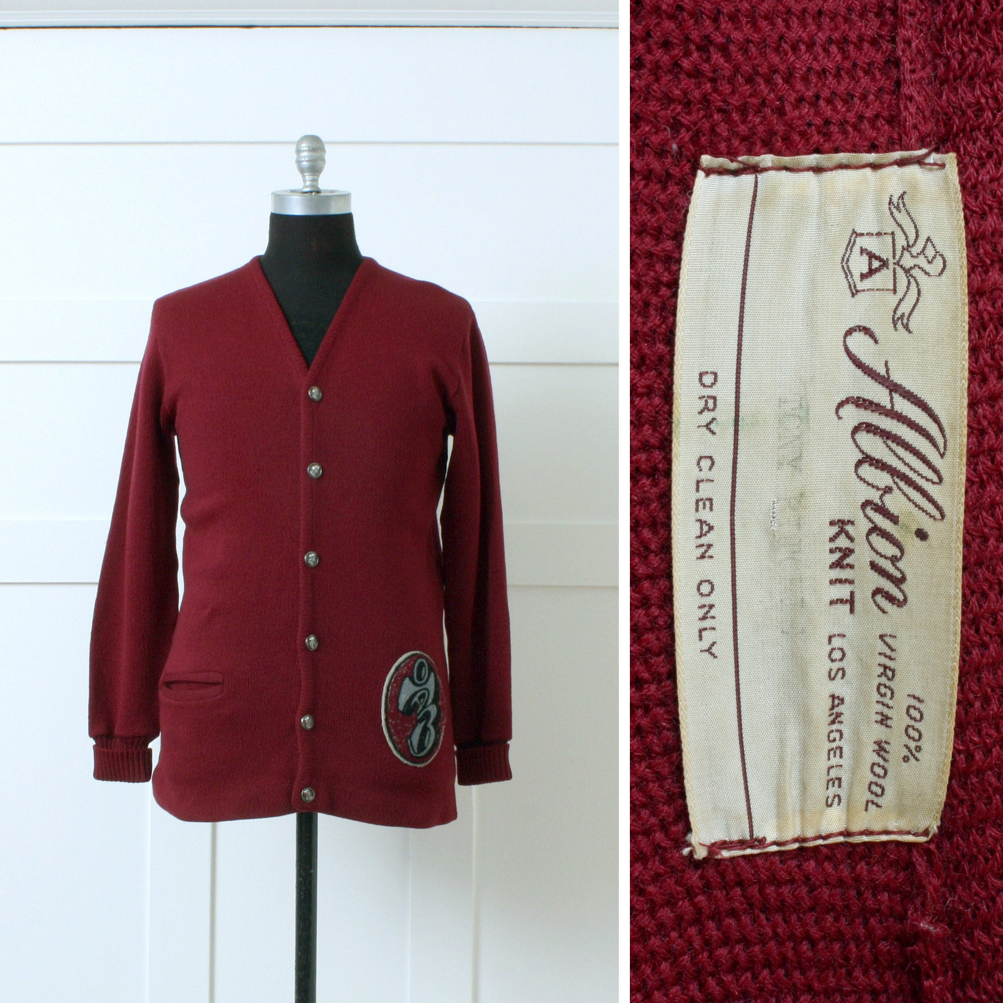 1940s Mens Ties | Wide Ties & Painted Ties Mens Vintage Letterman Sweater  1970S Albion Knit School Cardigan in Burgundy Red Wool $33.00 AT vintagedancer.com