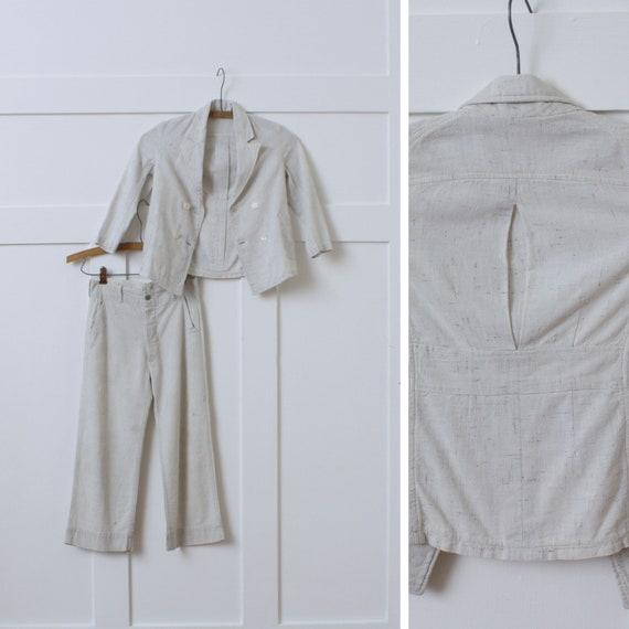 vintage 1930s kids belted back suit • flecked line