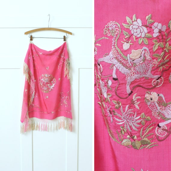 vintage Chinese silk embroidery scarf / shawl • sm